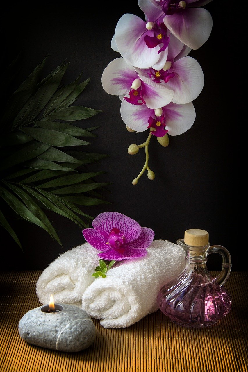 wellness, carafe, towels